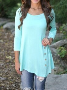 Mint Green Round Neck Side Buttons T-Shirt