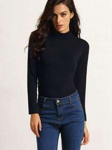 Black Polo Neck Long Sleeve Slim T-Shirt