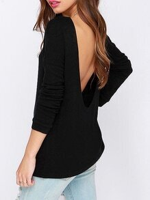Black Long Sleeve Open Back T-Shirt