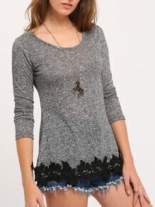 Grey Long Sleeve Floral Crochet T-Shirt