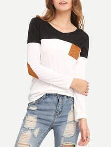 Colour-block V Neck Elbow Patch T-Shirt