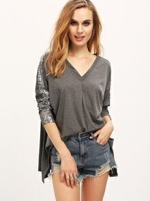 Grey V Neck Long Sleeve Sequined Loose T-Shirt