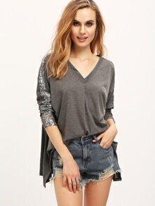 Grey V Neck Long Sleeve Sequined Loose T-Shirt
