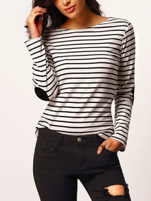 Black White Elbow Patch Striped T-Shirt