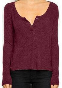 Red Long Sleeve Buttons Loose T-Shirt