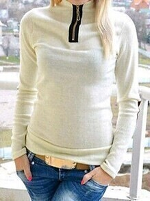 White Long Sleeve Turtleneck T-shirt