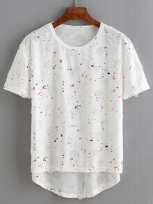 White Paint Print Ripped Dip Hem T-Shirt