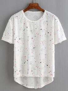 White Paint Print Ripped Dip Hem T-Shirt