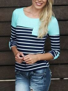 Blue Round Neck Striped Pocket T-Shirt