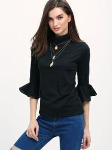 Black High Neck Ruffle Sleeve Slim T-Shirt