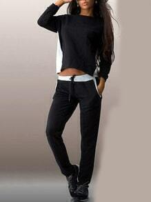 Colour-block Long Sleeve Zipper Back Top With Pant