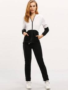 Colour-block Hooded Zipper Sport Sweatshirt With Pant
