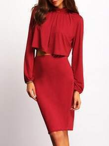 Red Stand Collar Crop Top With Skirt
