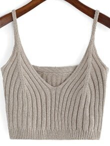 Khaki Spaghetti Strap Knit Cami Top