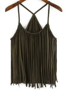 Army Green Slip Tassel Cami Top