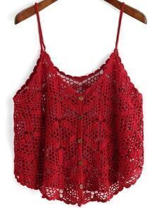 Red Slip Buttons Hollow Cami Top