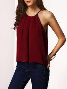 Cami Top mit Schnürung - burgund rot