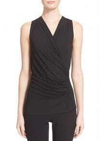 Black V Neck Ruched Tank Top