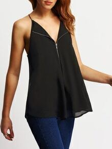 Black V Neck Chiffon Cami Top