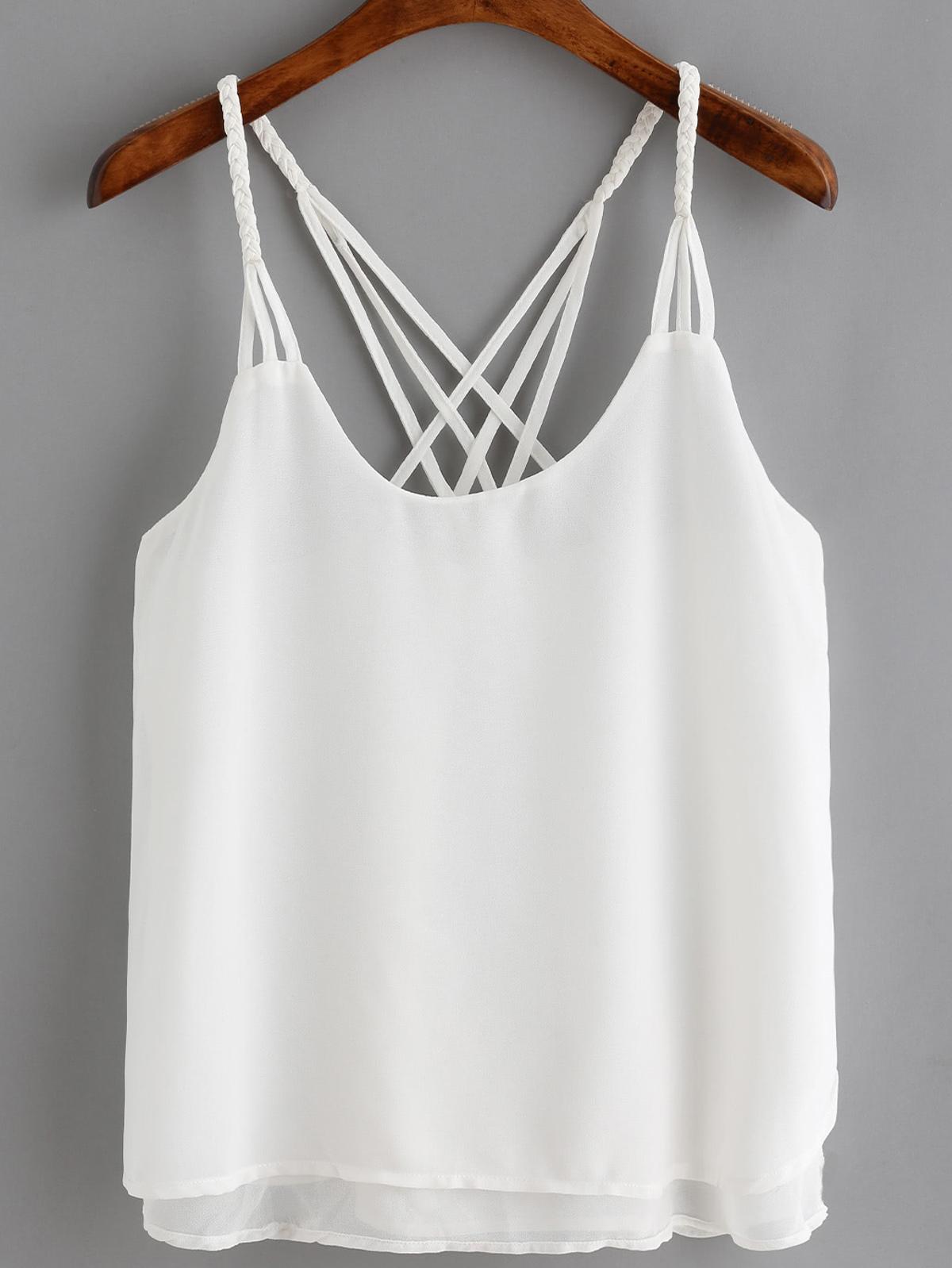 白色 細肩帶 寬鬆 細肩帶背心