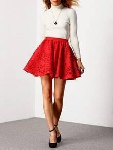 Red High Waist Hollow Flare Skirt