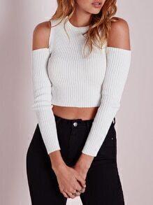 White Cold Shoulder Supersoft Slim Sweater