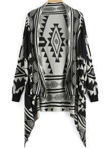 Black White Diamond Print Knit Cardigan