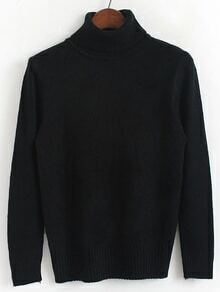 Black Turtleneck Long Sleeve Slim Sweater