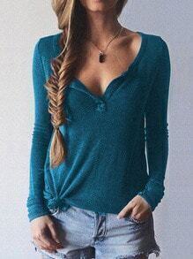 Blue Long Sleeve Loose Casual Knitwear