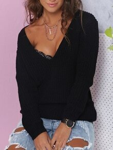 Black V Neck Long Sleeve Loose Knitwear