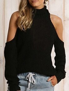 Black High Neck Cold Shoulder Sweater