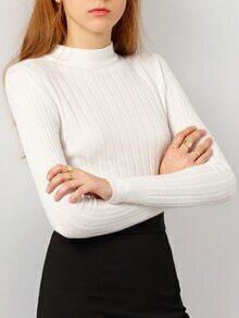 White Stand Collar Vertical Stripe Knitwear