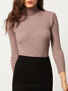 Pink High Neck Skinny Knitwear