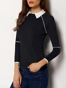 Black Contrast Collar Long Sleeve Knitwear