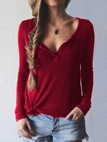 Red Turtle Neck Split Loose Sweater