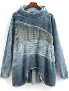 Blue High Neck Long Sleeve Fringe Sweatshirt