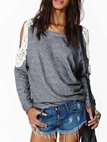 Grey Off the Shoulder Lace Loose Sweatshirt