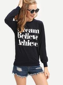 Navy Round Neck Letters Print Loose Sweatshirt