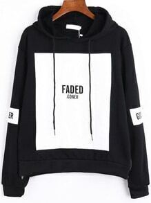 Black White Hooded Patterns Letters Print Loose Sweatshirt
