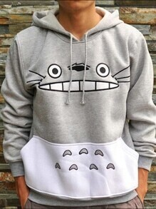 Grey Hooded Cartoon Pattern Loose Sweatshirt
