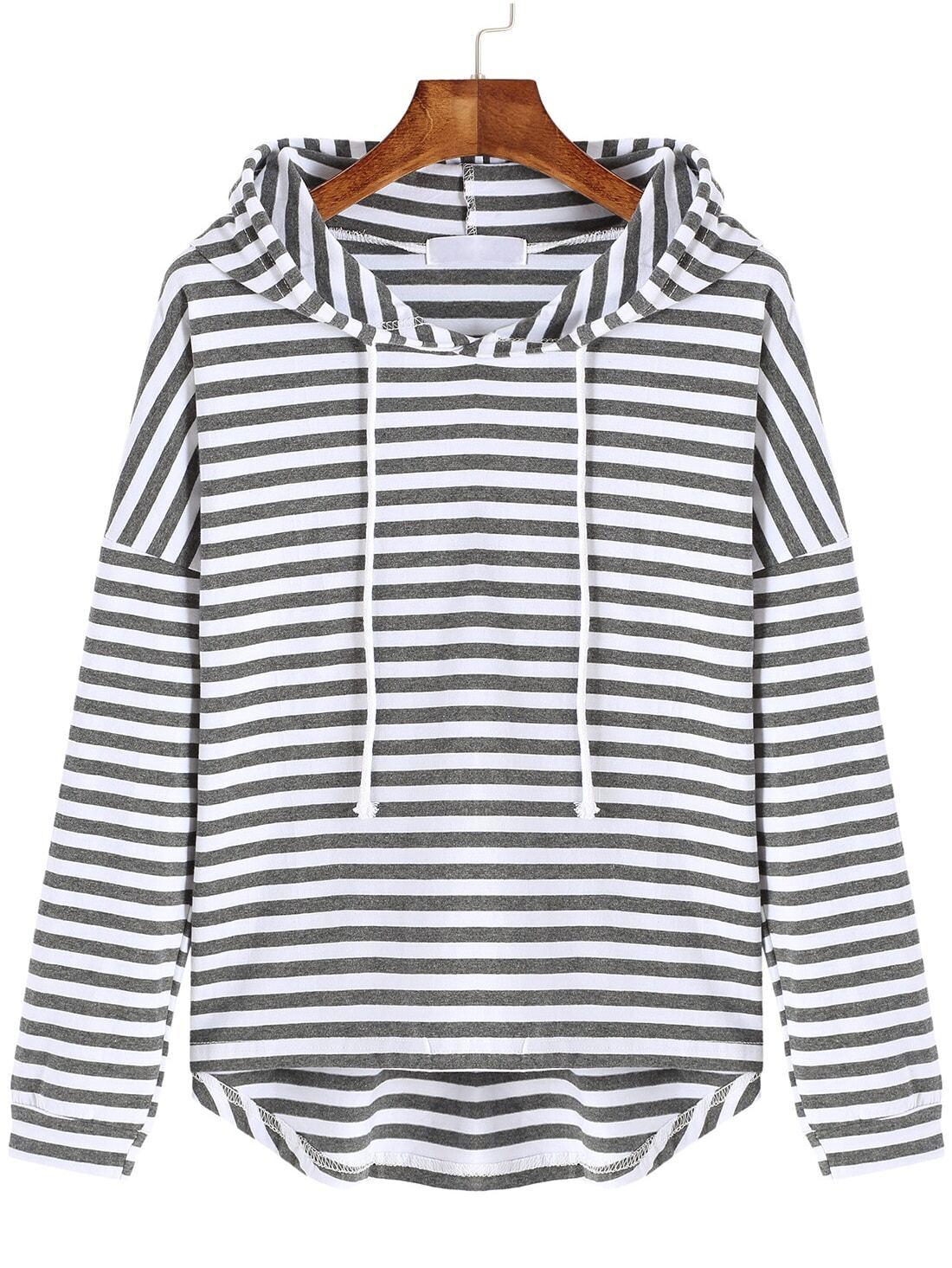 Grey White Hooded Long Sleeve Striped Sweatshirtfor Women