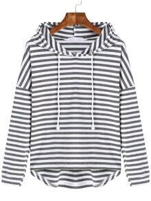 Grey White Hooded Long Sleeve Striped Sweatshirt