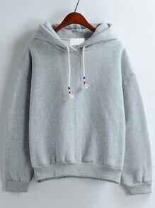Grey Hooded Long Sleeve Loose Sweatshirt