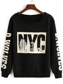 Black Round Neck Letters Print Loose Sweatshirt