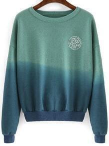 Green Blue Ombre Round Neck Crop Sweatshirt