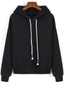 Black Hooded Drawstring Crop Sweatshirt