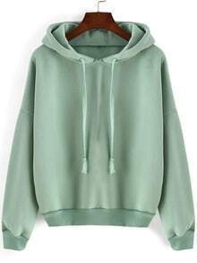 Green Hooded Long Sleeve Loose Crop Sweatshirt