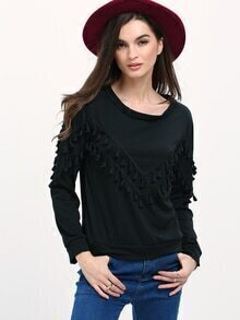 Womem Black Fringe Decorated Sweatshirt