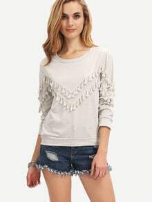 Womem Grey Fringe Decorated Sweatshirt