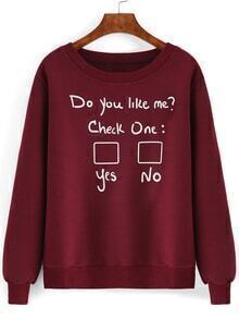 Red Round Neck Letters Print Sweatshirt